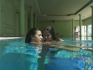 Two Adorable Sweeties Olla Oglaebina And Her Nasty Gf Are Swimming In The Pool
