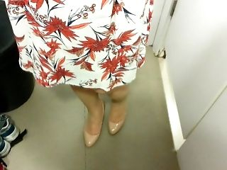 Beige Patent Pumps With Pantyhose Teaser Twenty-one