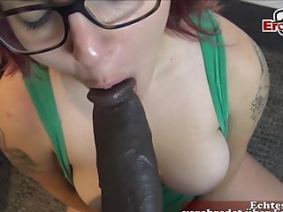 German Sandy-haired Teenage With Glasses Jizz Facial Cumshot