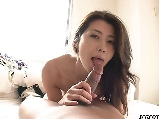 Slender Japanese Wifey Deep-throats And Rails Hard Shaft