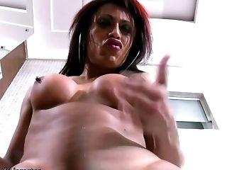 Big Boobed Ginger-haired Transsexual Drains Off Her Massive Jizz-shotgun In Bathtub