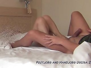Footjob In Couch And Hand Jobs To Make Him Jism