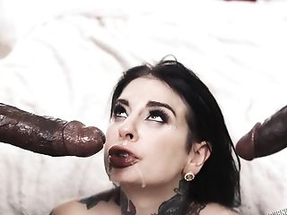 Tattooed Cutie Joanna Angel Gets Fucked By Horny Black Guys