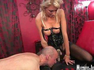 Tall Long Legged Blonde Domina Strap Dildo And Fucking