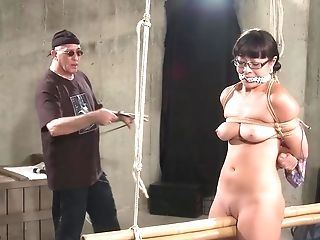 Black-haired Stunner Gets Tied Up And Disciplined With A Plaything By A Friend