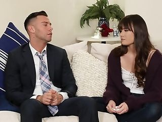 Dark-haired Angel Alison Rey Gets Her Waxed Poon Munched And Dicked