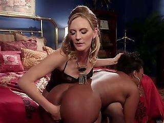 Milky Slender Mistress Fucks Tied Up And Suspended Black Hooker Lisa Tiffian