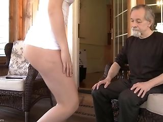 Older Man Leans Over Slightly Legal Dark-haired And Spanks Her