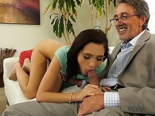 Older Nerdy Man Decently Bangs Meaty Cunt Of Lovely Brooke Laugh At