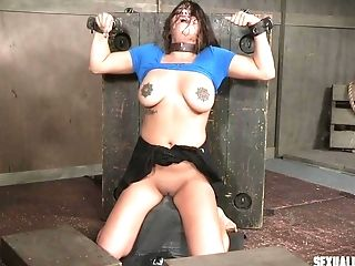 Nice Brown-haired Scarlet De Sade Strapped In And Fed Schlong Down Her Hatch