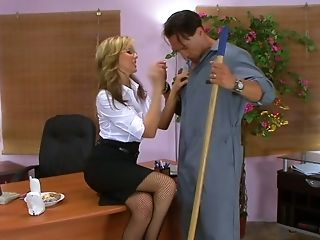 Buxomy Blondie Female Manager Julia Ann Is Hungry For Janitor's Big Salami