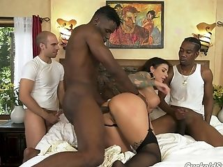 Milky Hotwife Just Wanks Himself As Two Black Studs Fuck Ivy Lebelle