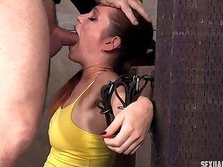 Fascinating Black-haired Nymph Is Tied Up And Attacked With A Stiff Fuck-stick