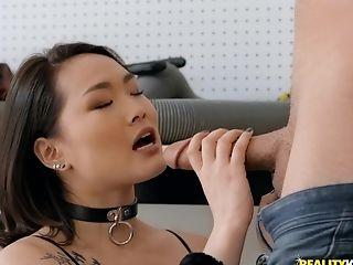 Kaya Lin Fucks Hard Rear End Style While Wearing Fishnet Stockings