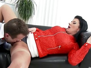 Pushing Her Lace Undies Aside And Fucking Her Cunt