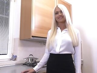 Lengthy Haired Elegant Blonde Bombshell Lena Love Strips In The Kitchen