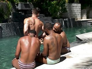 Hard-core Interracial Homosexual Group Fuck With Matures Dudes At The Pool