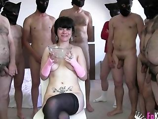 After A Ruthless Gang-fuck Ris Dar Is Ready To Drink All That Jizz