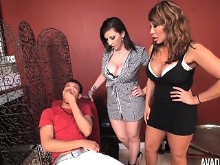 Ava Devine And Another Cougar Are On Their Knees Pleasing A Dick