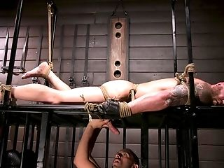 Matures Blonde Faggot Dude Tied Up And Manhandled In A Cellar