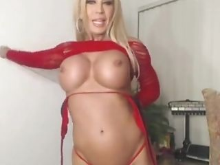 Amber Lynn With Enormous Juggs Taunts And Masturbates On Livecam