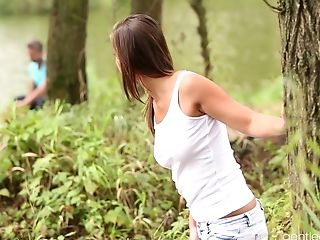 Girl fucked forest student in