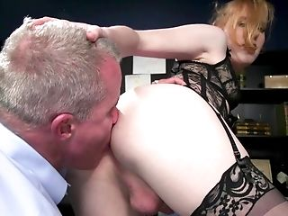 Lewd Tranny In Stockings Shiri Allwood Fucks Jaws And Pooper Of One Dude