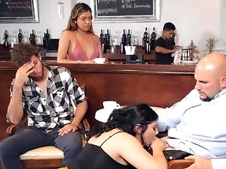 Black-haired Female With Big Backside And Knockers Fucks In The Bar
