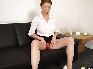 Fleshy Cougar Princess Paris Takes Off Her Crimson Undies And Shows Yummy Puss Upskirt