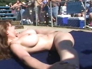Nasty Ladies Get Naked For A Lezzie Threesome In A Pool