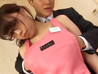 Huge-chested Nerdy Japanese Stunner Hamaguchi Ena Rails Dick And Gives Tit Job
