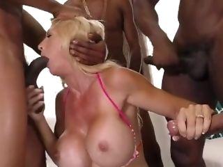 Buxom Stepmom Brooke Tyler Interracial Gang-fuck