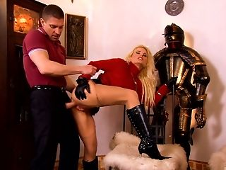 Smooching His Blonde Honey's Boots And Draining Her Taut Butthole