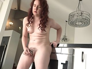Curly Haired Brown-haired Cougar Annabelle Makes Her Puss Spunk With Playthings