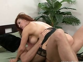 Matures Red-haired With Big Tits Fucked By A Youthful Stud