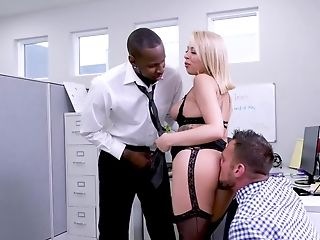 Fresh Office Chick Is Prone To Threesome Fucky-fucky With Dual Intrusion