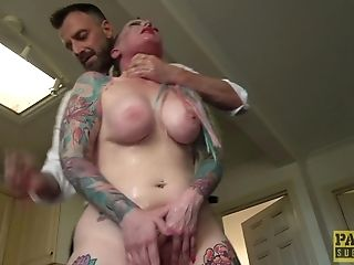 Tattooed Chick Piggy Mouth Gets Her Cunt Fucked In Various Poses