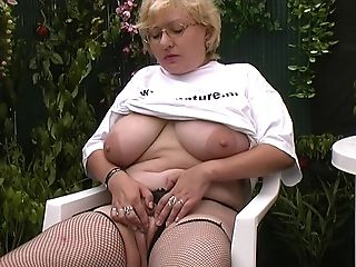Big-titted Blonde Granny Loves To Suck The Dick In Her Own Backyard