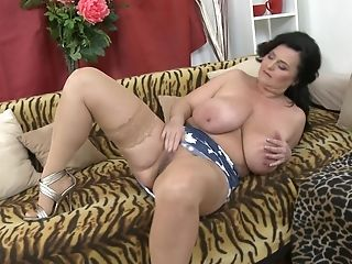 Huge-chested Fledgling Black-haired Mummy Lorie Strips And Plays With Her Cunt