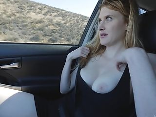 Blue Eyed Sandy-haired Cougar Anna Masturbates In A Car