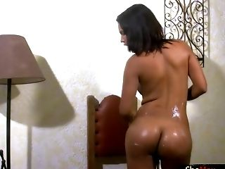 Black Tranny In Milky Underwear Lubricates Up Her Figure And Shedick