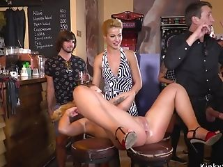 Hot Blonde Tied Up And Banged In Public