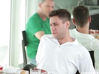 Whorish Mom Linn Karter Is Sucking Stepson's Dick Under The Table