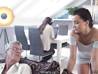 Daddy4k. Grey-haired Old Man With Glasses Fucks Beautiful Youthful Female