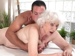 Fat Old Bitch Gets Her Hairy Twat Fucked By Youthfull Pecker