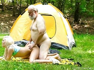 Camping Blonde Gal Lovita Fate Gets Her Twat Gobbled By Bearded Gaffer