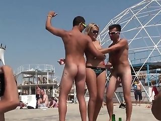 Naked Guys On The Beach Have Joy With A Youthfull Female