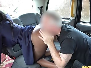 Energized Cab Driver Fucks Dark-hued Customer And Cums On Her Tits