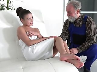 Old Handyman Sees Naked Lady Masturbating Labia And Lends A Forearm