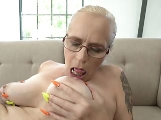 Asian Cutie Licks Old Cunt Of Grey-haired Granny With Glasses